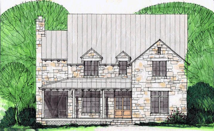 Drawing by Steve Chambers, A.I.A., Specializing in Residential Architecture in Texas and Oklahoma.