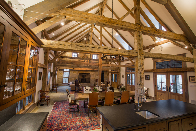 Antique Timber Frame Barn Family Room Dallas Tx And