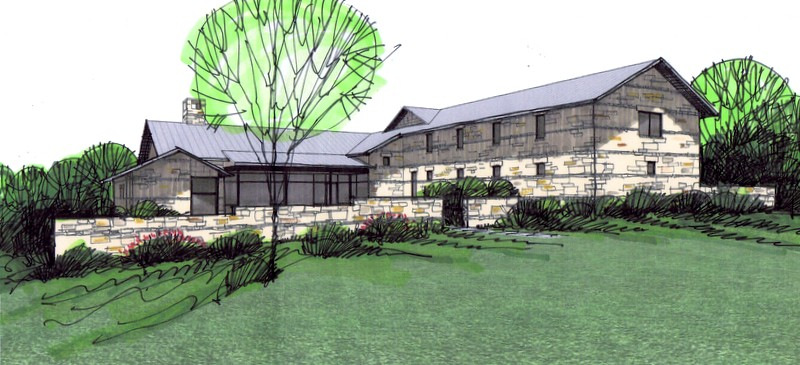 A Sketch by Steve Chambers, A.I.A., of Sustainable Modern Home in Ellis County, Texas
