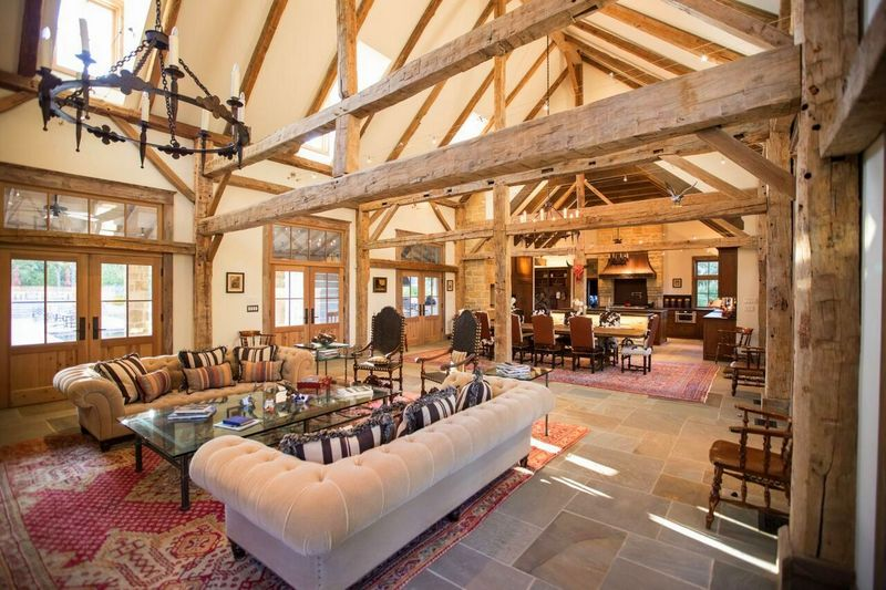 Design By Dallas Architect Steve Chambers. Barn To Home Conversion With  Pennsylvania Blue Stone Floors And Antique Timber Frame By Heritage Barns  Of Waco, ...