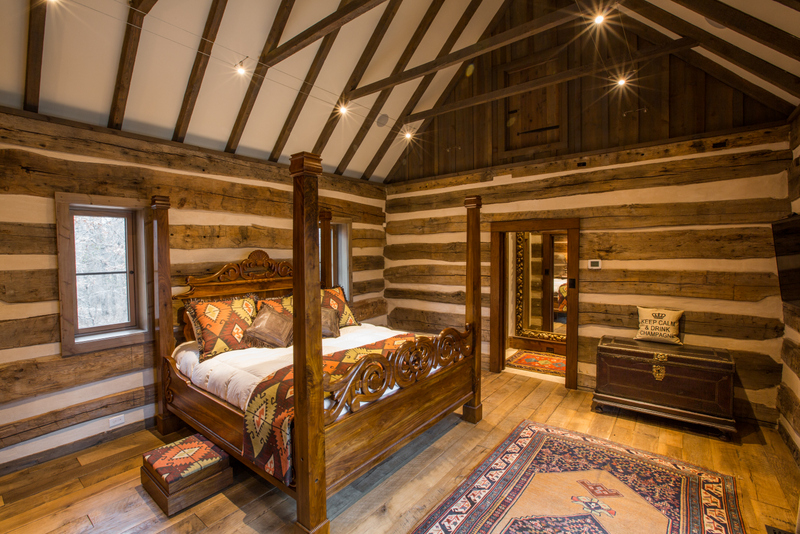 Antique Log Cabin Turned into Master Bedroom  Design by Steve Chambers   Architect in Dallas  Texas Antique Log Cabin Turned into Master Bedroom  Design by Steve  . Log Cabin Homes Dallas Tx. Home Design Ideas