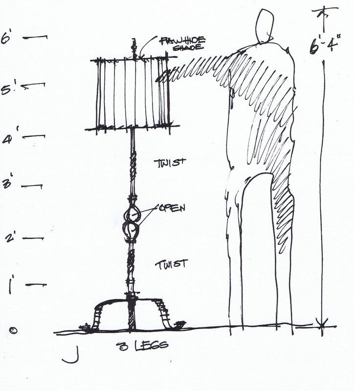 Texas, Oklahoma, Colorado Architect, Steve Chambers. Architect Designed Furniture, Texas Custom Furniture, Wrought Iron Interior Design, Designer Sketch