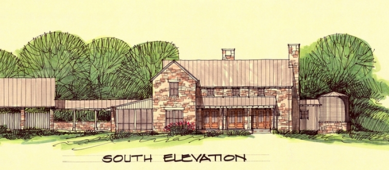 South Elevation of Home in Mason County, Texas
