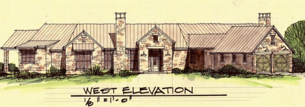 Sketch of New Home to be Built on Collin County Vineyard by Texas Architect, Steve Chambers
