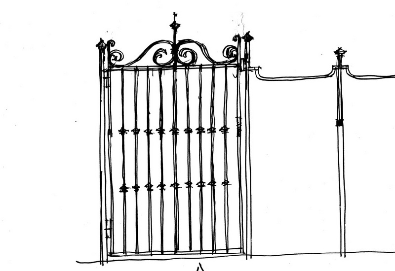 Texas, Oklahoma, Colorado Architect, Steve Chambers. Fence Design, Dallas Architect, Texas Architect, Sketch, Wrought Iron Design,