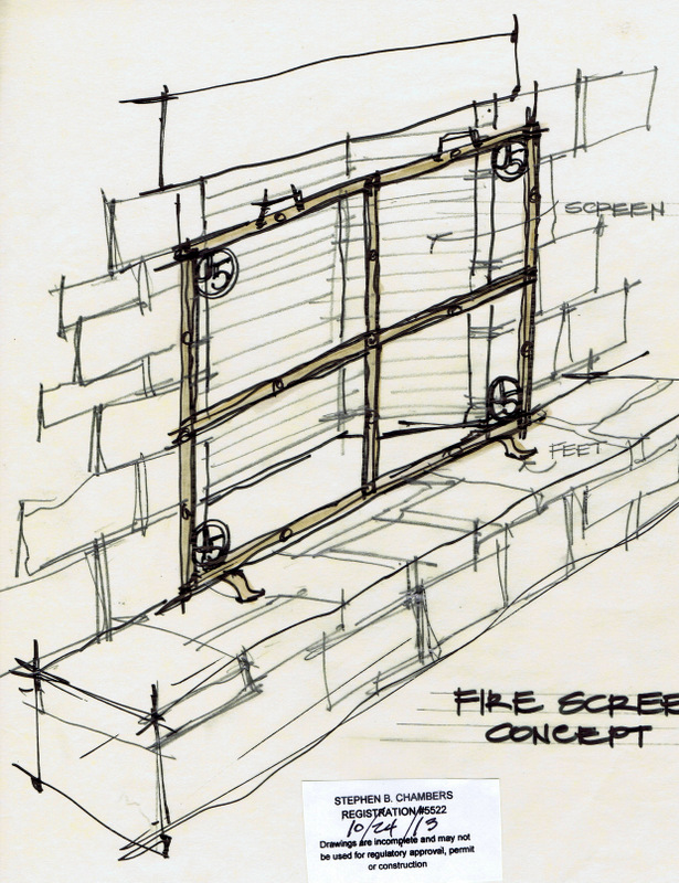 Texas, Oklahoma, Colorado Architect, Steve Chambers. Fireplace, Fire Screen Design, Dallas Architect, Texas Architect, Sketch, Wrought Iron Design,