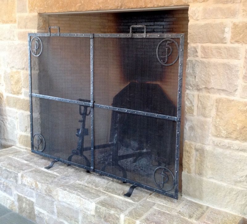 Texas, Oklahoma, Colorado Architect, Steve Chambers. Texas Limestone Fireplace, Architect Designed Furniture, Texas Wrought Iron Furniture, Texas Wrought Iron Fireplace Screen