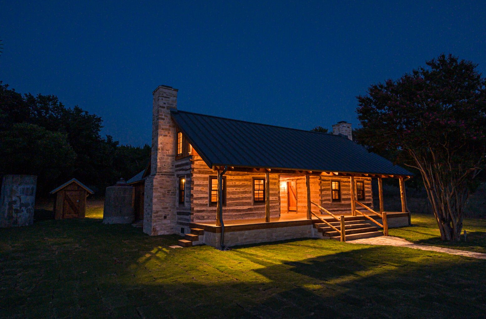 Hill Country Dog Trot Log Home